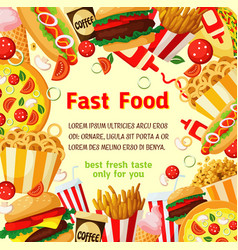 fast food poster with fastfood meal drink frame vector image vector image