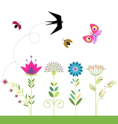 flowers set swallow butterfly ladybug beetle vector image