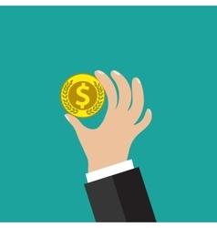 Golden coin in hand vector
