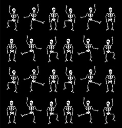Halloween skeleton pattern black background vector