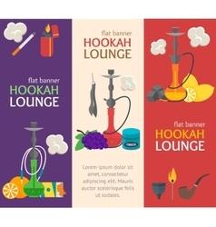 Hookah Banner Flat Design Style vector image vector image
