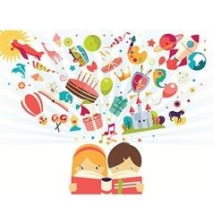 Imagination concept boy and girl reading a book vector
