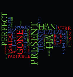 Learn spanish lesson and the present perfect vector