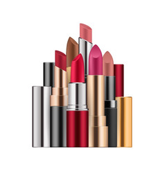 Lipstick set in different colors open case vector