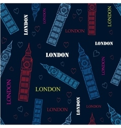 London big ben tower dark blue seamless vector