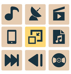 Multimedia icons set with quaver playlist vector