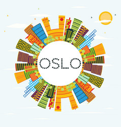 oslo skyline with color buildings blue sky and vector image vector image