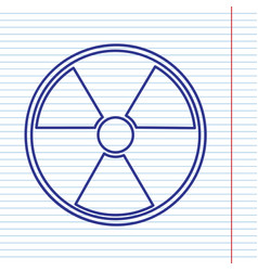Radiation round sign navy line icon on vector