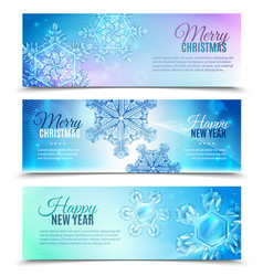 realistic snowflake banner set vector image vector image