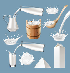 Set of 3d milk splash and pouring vector
