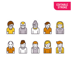 set of people linear art style variants of vector image