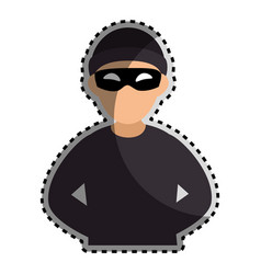 sticker color silhouette with criminal hacker vector image