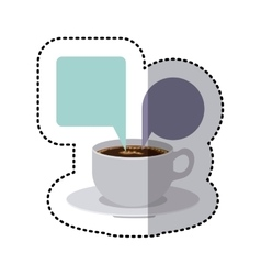 Sticker colorful set porcelain cup coffee with vector