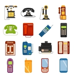 Telephones icons communication call contact device vector