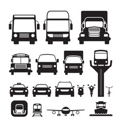 Vehicles cars and transportation in front view vector
