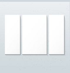 Vertical white triptych posters mockup vector