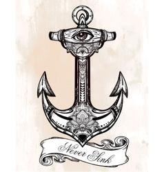 Vintage anchor symbol vector image