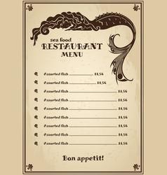 Vintage menu for pub cafe restaurant with sea vector