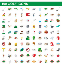 100 golf icons set cartoon style vector image