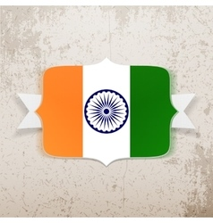 India flag on tag with ribbon vector