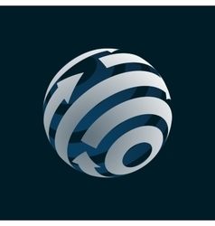 Abstract globe logo element rotating arrows vector
