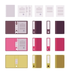 Set of papers files and folders vector image