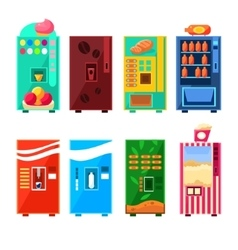 Food And Drink Vending Machines Design Set vector image
