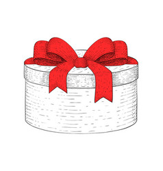 round gift box hand drawn sketch vector image