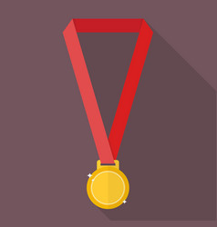 Gold medal in flat style vector