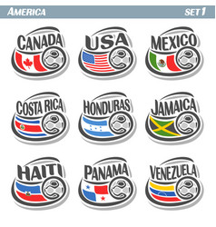 Set icons of flags american national teams vector