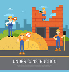under construction banner with workers vector image