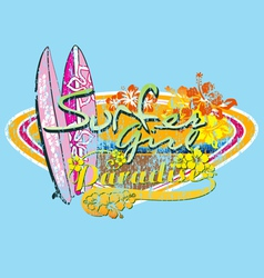 Surfer girl paradise vector
