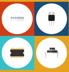 Flat icon electronics set of destination receiver vector