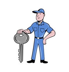Locksmith standing front view with key vector