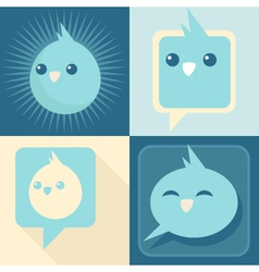 Blue retro birds vector