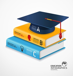 infographic Template book and Graduation cap vector image