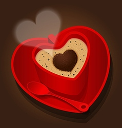 Red cup in heart shape of cappuccino vector