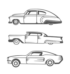 Set vintage old cars vector