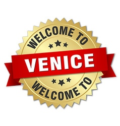 Venice 3d gold badge with red ribbon vector