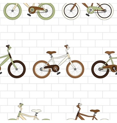 Vintage bicycle on white brick wall vector
