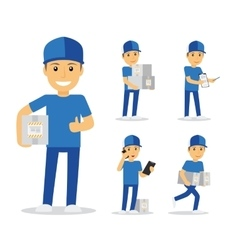 Delivery man in blue uniform vector