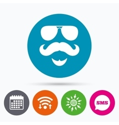 Mustache and glasses sign icon hipster symbol vector