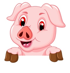 Funny pig cartoon with blank board vector