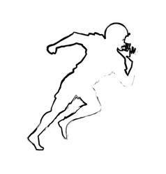 american footbal player quarterback helmet sketch vector image vector image