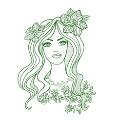 Artistic drawing of a beautiful girl with flowers vector image