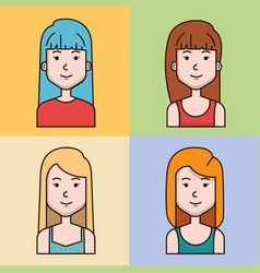 Avatar people female group profile woman vector