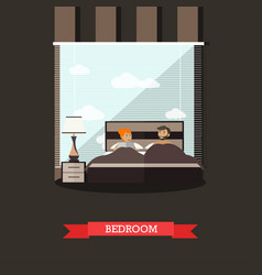 bedroom in flat style vector image vector image