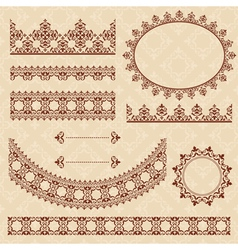 Brown arabic ornamental elements vector