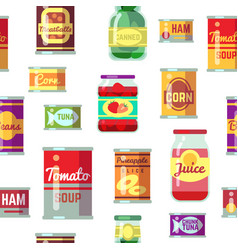 canned goods and food in metal container vector image vector image
