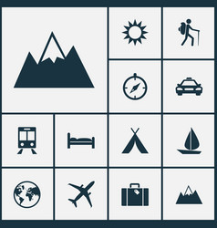 Exploration icons set collection of railway vector